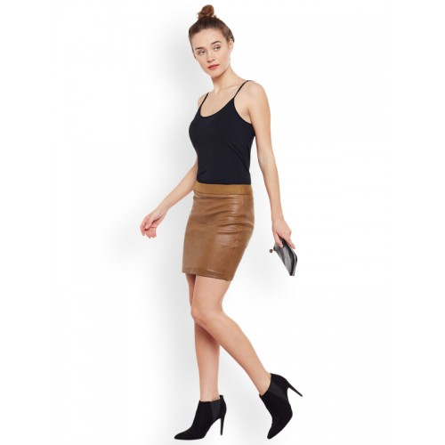 Rider Republic Tan Brown Cotton Blend Mini Pencil Skirt