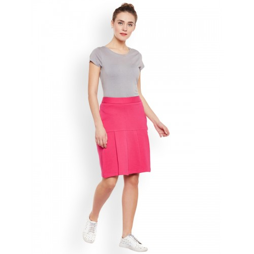 Rider Republic Pink Cotton Blend Solid A-Line Skirt