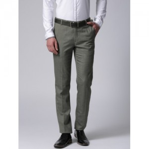 True Blue Men Grey Regular Fit Solid Formal Trousers