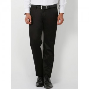 Peter England Men Black Regular Fit Solid Formal Trousers
