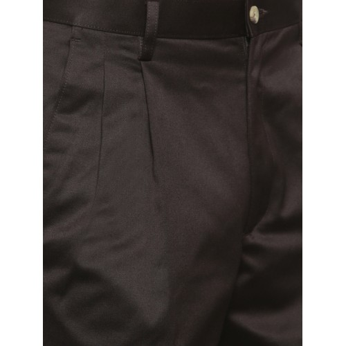 d83cb14290e Buy Peter England Men Brown Smart Slim Fit Solid Formal Trousers ...
