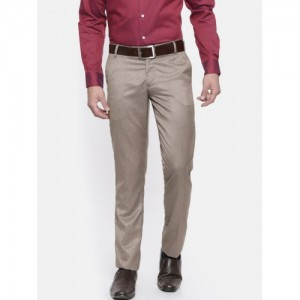 John Players Men Beige Slim Fit Solid Formal Trousers