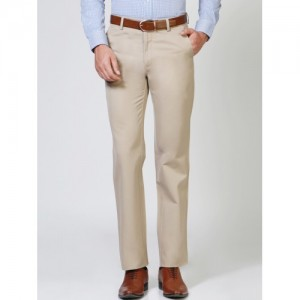Allen Solly Men Beige Regular Fit Solid Formal Trousers