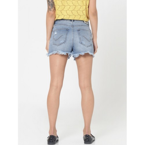 ONLY Blue Embellished Regular Fit Cropped Denim Shorts