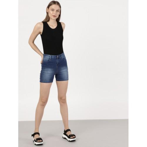 ether Women Blue Washed Regular Fit Denim Shorts