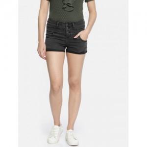 DressBerry Women Black Washed Regular Fit Denim Shorts