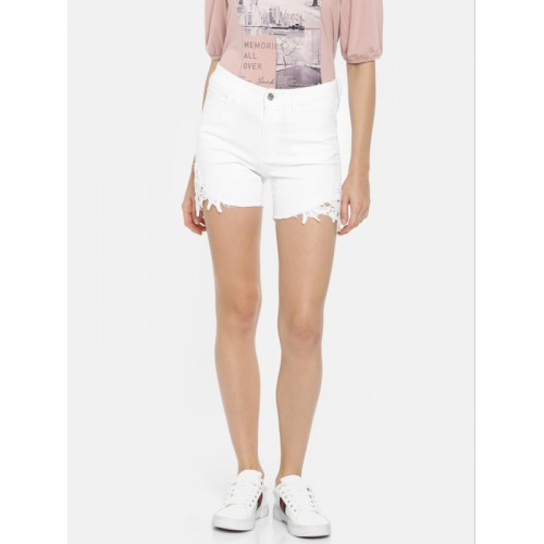 Vero Moda Women White Solid Slim Fit Denim Shorts