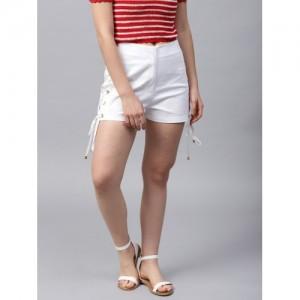 STREET 9 Women White Solid Regular Fit Shorts