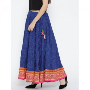 Biba Blue Printed Flared Maxi Skirt