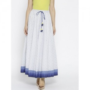 Biba White & Blue Printed Maxi Flared Skirt