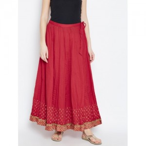 Biba Red Printed Detail Maxi Flared Skirt