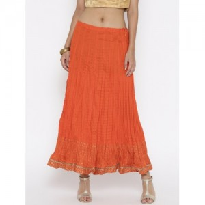 Biba Orange Flared Maxi Skirt