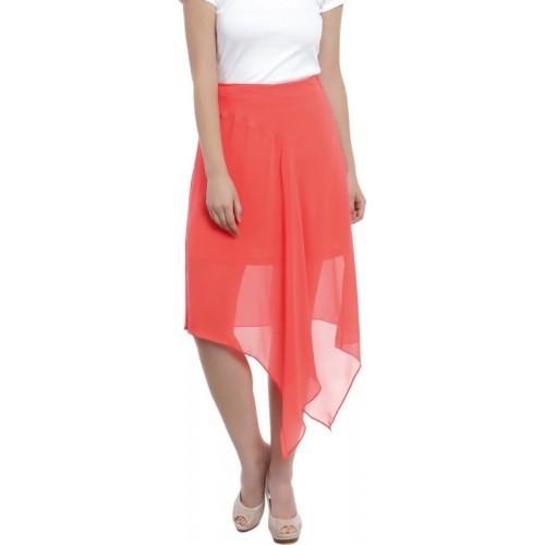 Zink London Orange Solid Asymetric Skirt