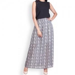 Zink London Grey Printed Pleated Skirt