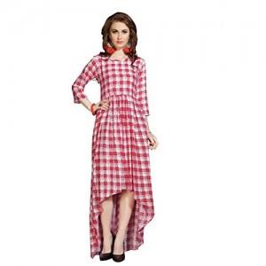 Shital Fashion Pink And White Rayon Anarkali Kurti