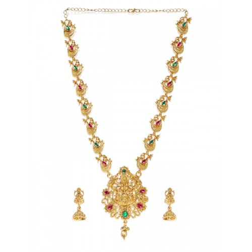 Zaveri Pearls Gold-Toned & Red Sacred Goddess Jewellery Set
