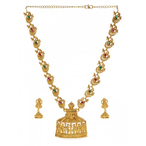 Zaveri Pearls Gold-Toned Sacred Goddess Jewellery Set