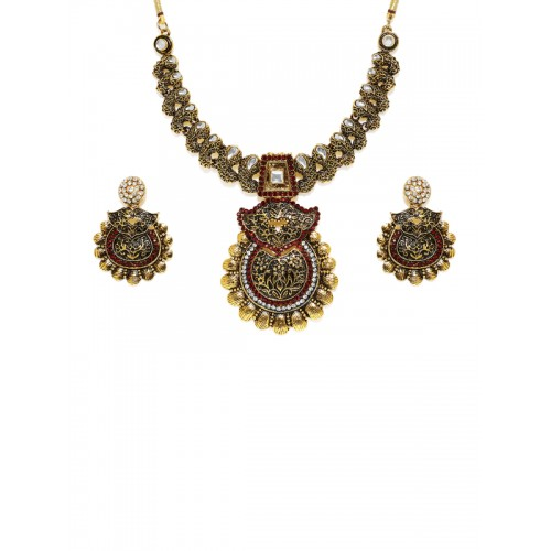 Zaveri Pearls Gold-Plated & Red Antique Jewellery Set
