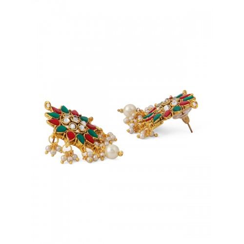 Rubans Women Gold-Toned Handcrafted Kundan Necklace Set