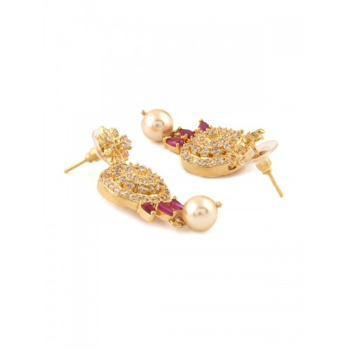 Rubans Women Pink Gold Plated Handcrafted CZ Studded Jewellery Set