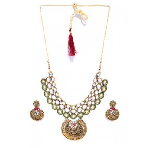 Zaveri Pearls Antique Gold-Toned & Green Kundan-Studded Jewellery Set
