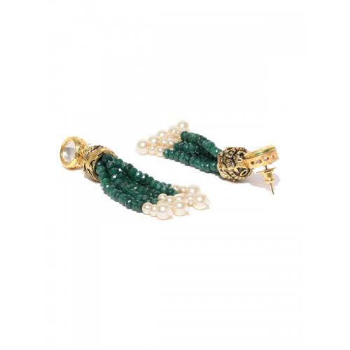 Priyaasi Green & Gold-Toned Kundan-Studded Jewellery Set