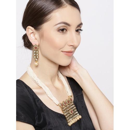 Priyaasi Off-White & Pink Gold-Plated Ruby & Kundan-Studded Jewellery Set