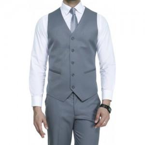 ManQ Grey Solid Waistcoat