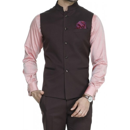 ManQ Brown Solid Waistcoat