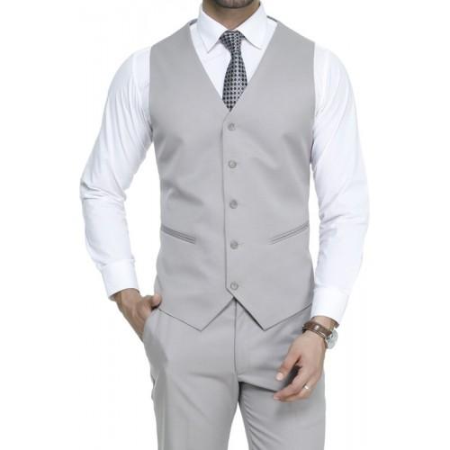 ManQ Light Grey Solid Waistcoat