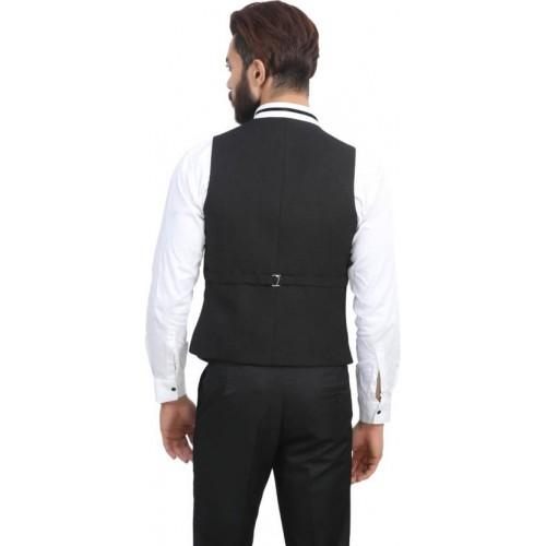 ManQ Black Casual Solid Waistcoat