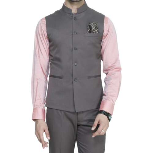 ManQ Light Brown Solid Waistcoat