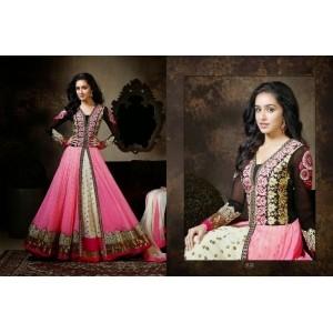 Shraddha Kapoor Pink & Black Embroidery Work Salwar Suits