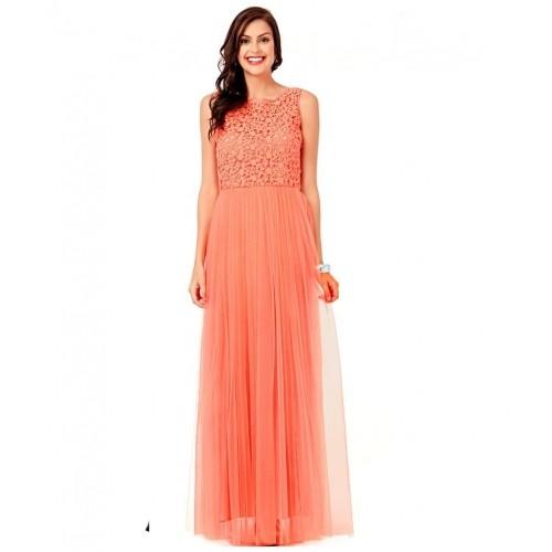 Eavan PeachPuff Net Gowns