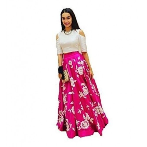 Ecolors Fab Pink Bangalore Silk Printed Semi Stitched Lehenga