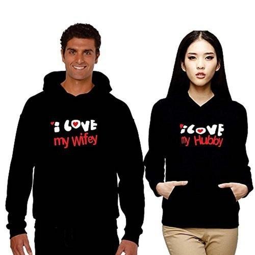 Buy Tyyc I Love Wifey Hubby Black Couple Hoodies With Pocket