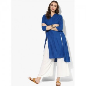 People Blue Viscose Regular Fit Solid Kurta