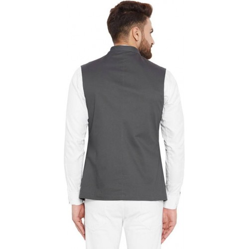 Hypernation Grey Cotton Solid Waistcoat