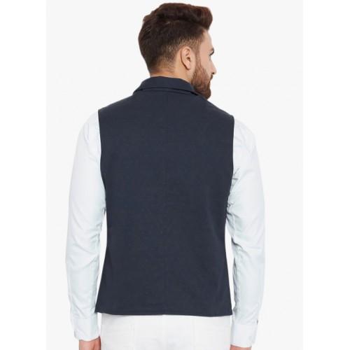 Hypernation Blue Printed Waistcoat
