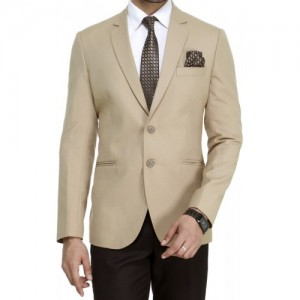 ManQ Beige Solid Casual Formal Blazer