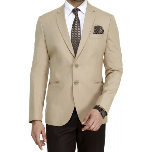 ManQ Beige Solid Casual Formal Blazer