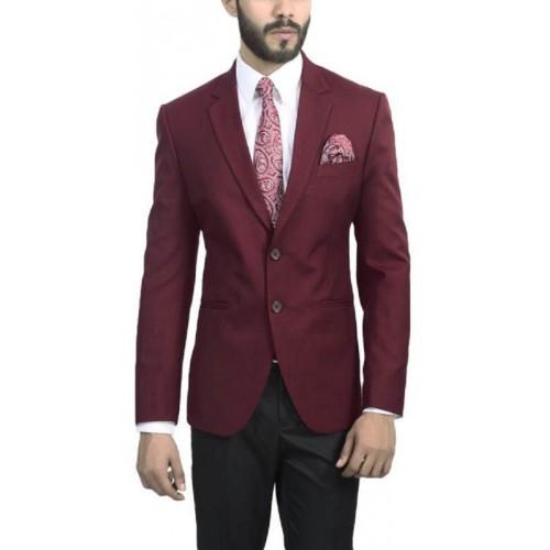 ManQ Red Solid Breasted Wedding Formal Blazer