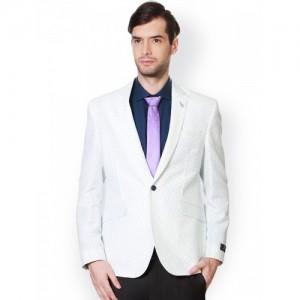 Van Heusen White Paisley Print Slim Fit Formal Blazer
