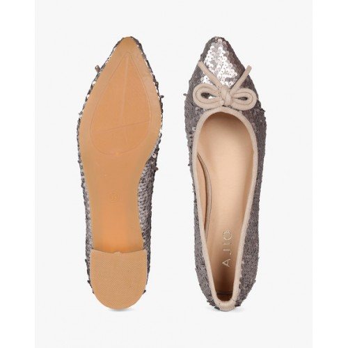 AJIO Pointed-Toe Sequinned Ballerinas