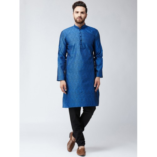 SOJANYA Blue Silk Blend Woven Design Straight Kurta