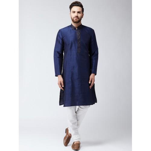 SOJANYA Navy Blue Slik Polyester Woven Design Straight Kurta