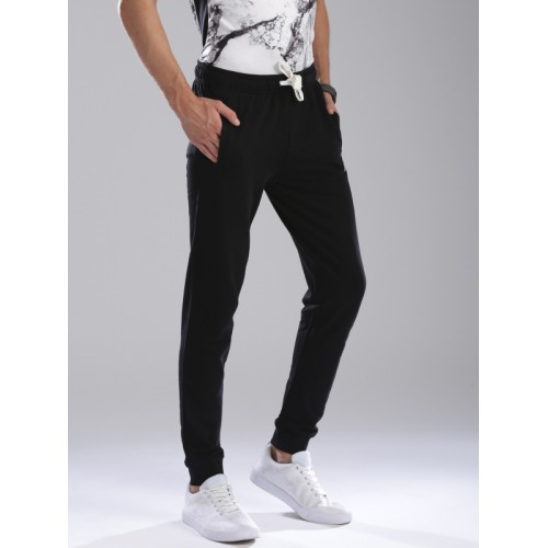 Kappa Men Black Slim Fit Solid Joggers