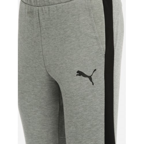 Puma Men Grey Melange Solid Evostripe Core Slim Fit Joggers