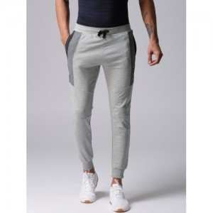 YWC Men Grey Melange Solid Joggers