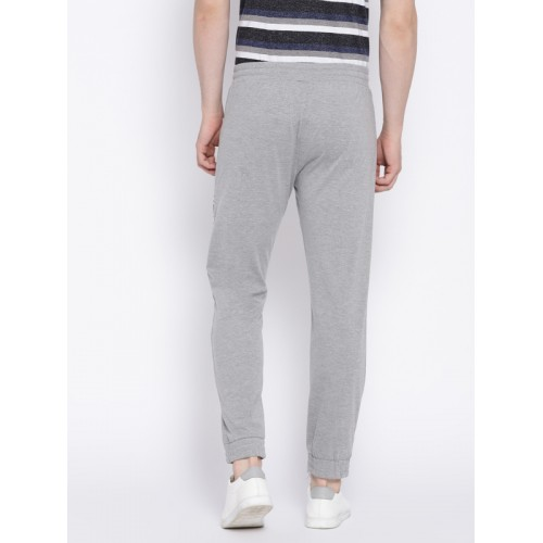 Hubberholme Men Grey Melange Solid Slim Fit Joggers
